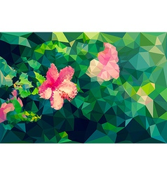 Low poly geometric of hibiscus flower vector image