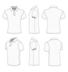 Mens white short sleeve polo shirt vector image