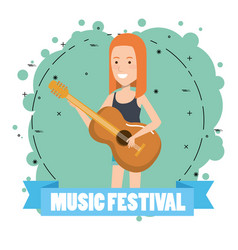 Music festival live with woman playing acoustic vector