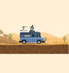 News tv car van on the desert with sand and vector