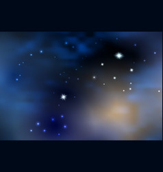 night bluestarry sky with sunlight through clouds vector image