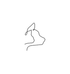 one line animal heads cat dog silhouette vector image