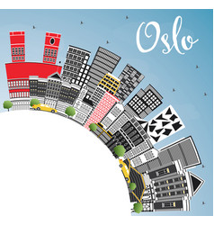 Oslo norway city skyline with gray buildings blue vector