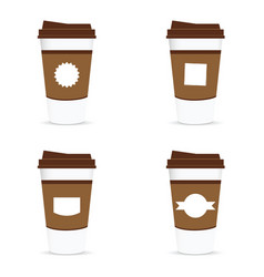 Paper coffee cup with label vector