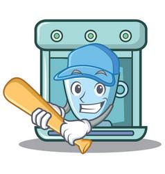 Playing baseball coffee maker character cartoon vector