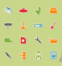 Plumbing service simply icons vector
