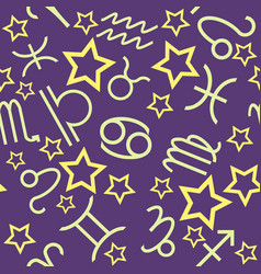 Purple horoscope seamless pattern vector