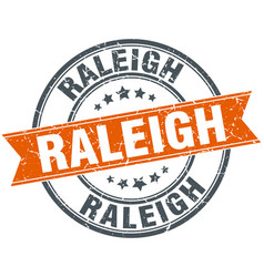 Raleigh red round grunge vintage ribbon stamp vector