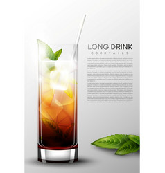 Realistic alcohol long drink glass poster vector