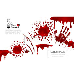 Realistic bloody elements template vector