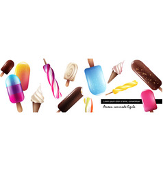 realistic fresh ice cream collection vector image
