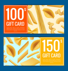 realistic pasta types discount or gift vector image