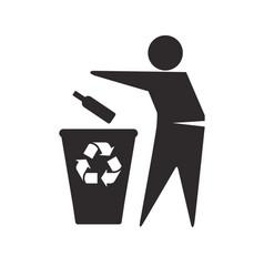 Recycle glass in bin symbol vector