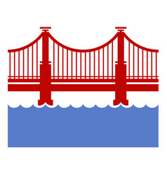 Red bridge icon over river vector