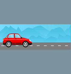 Red car on a road with mountain view vector