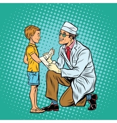 Retro doctor bandaging boy injured arm vector image