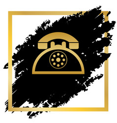 retro telephone sign golden icon at black vector image