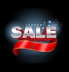 sale 3d with red ribbon banner vector image