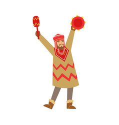 Shaman character in national clothes dancing vector