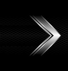 Silver arrow direction on black hexagon mesh vector