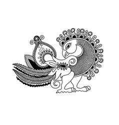 sketch hand drawing of paisley peacock bird vector image