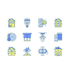 smart house rgb color icons set vector image