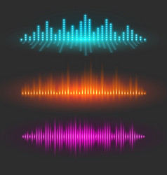 Sound wave graphical depiction abstract waveforms vector