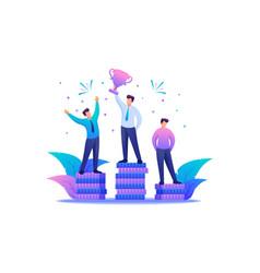 Success entrepreneur in business leadership flat vector