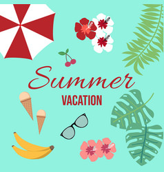 summer vacation background with tropical elements vector image