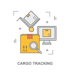 thin line flat design banner for cargo tracking vector image