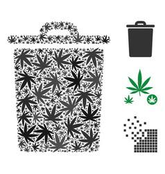 trash bin composition of hemp leaves vector image