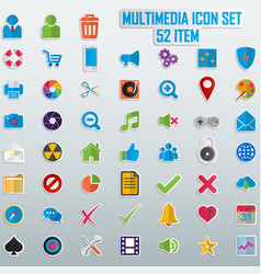 trendy line icons - multimedia vector image