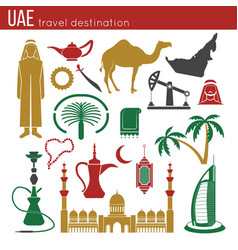 Uae travel concept map flat icons design vector