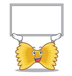 up board farfalle pasta character cartoon vector image