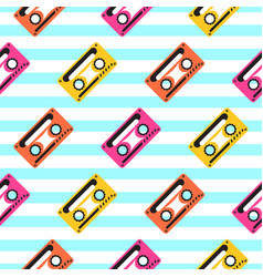 Vintage pop art music tape striped seamless vector