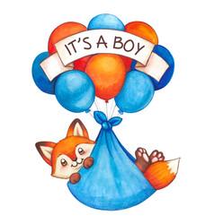 Watercolor baby boy newborn fox flying vector
