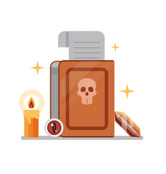 witchcraft spell book with scroll flat icon vector image