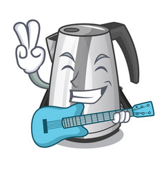 with guitar kitchen electric kettle on a mascot vector image
