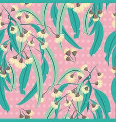 Yellow eucalyptus blossom polka dots seamless vector