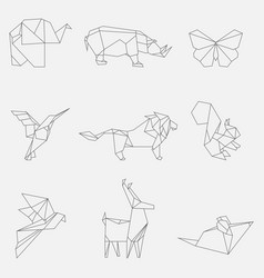line origami animals vector image vector image