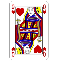 Poker playing card Queen heart vector image vector image