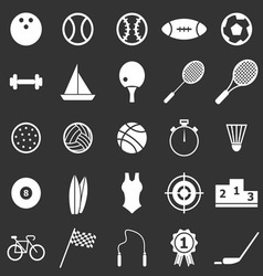 Sport icons on black background vector image vector image