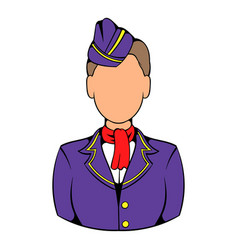 stewardess icon in icon cartoon vector image