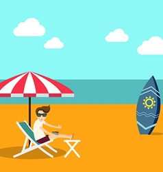 Vacation time summer beach flat design vector image vector image
