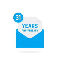 31 years anniversary icon in blue open letter vector image vector image