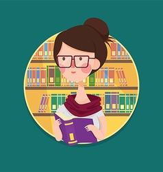 College Girl Student Studying in Library vector image