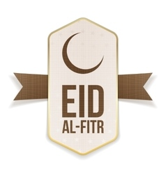 Eid al-fitr realistic greeting poster with ribbon vector