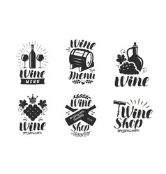 wine logo or label winery drink symbol vector image vector image