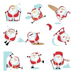 Santa extreme set vector image