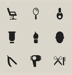 Set of 9 editable barber icons includes symbols vector